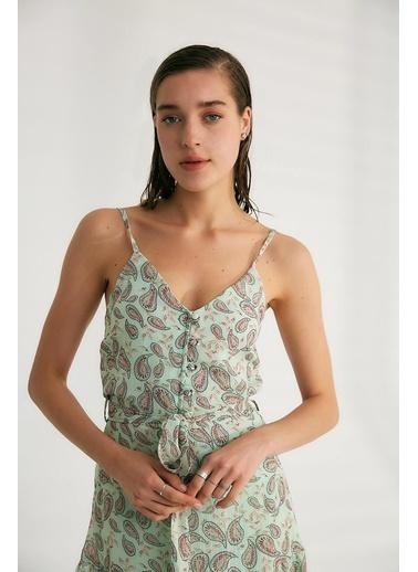 Robin Kuşak Detaylı Askılı Elbise Mint Yeşil